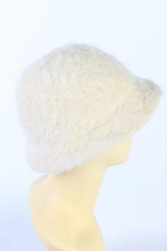 Vintage 1990s Fashion Brimmed Winter Hat White HAT865-121189