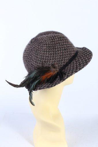 Vintage 1990s Fashion Brimmed Winter Hat Brown HAT869-121174