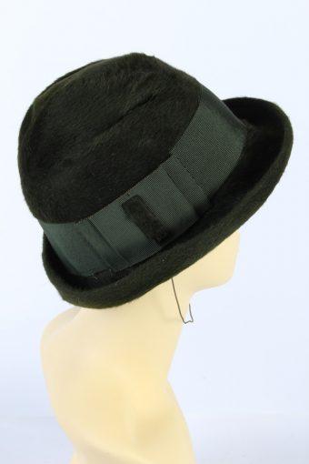 Vintage 1990s Fashion Brimmed Winter Hat Green HAT877-121373