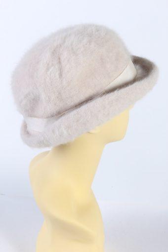 Vintage C&A 1990s Fashion Brimmed Winter Hat Baby Pink HAT879-121366