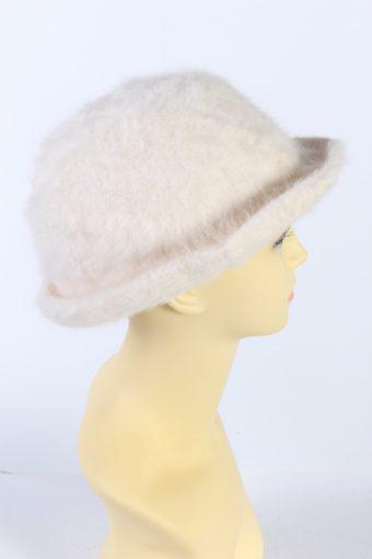 Vintage Kangora Angora Soft 1990s Fashion Brimmed Winter Hat White HAT882-121354