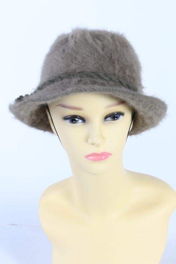 Vintage 1980s Fashion Trilby Winter Hat Khaki HAT890-0