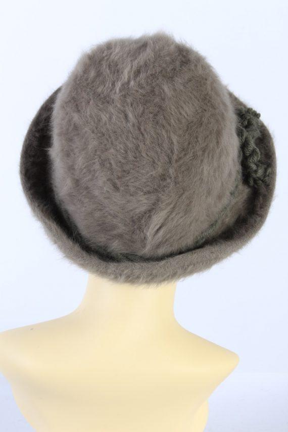 Vintage 1980s Fashion Trilby Winter Hat Khaki HAT890-121326