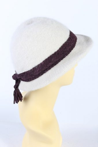Vintage 1980s Fashion Trilby Winter Hat White HAT898-121295