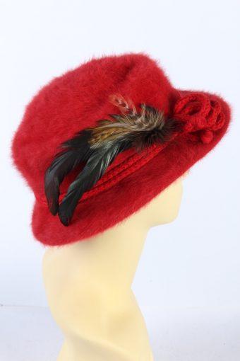 Vintage 1990s Fashion Brimmed Hat Red HAT914-121457