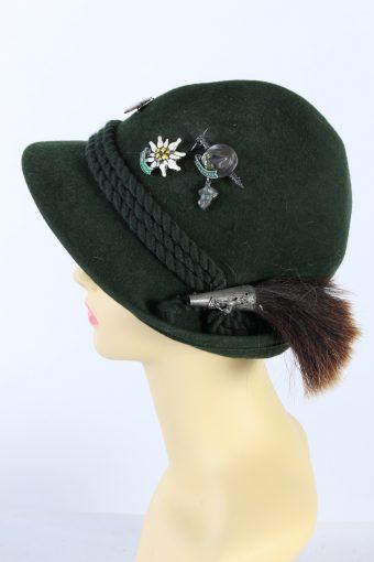 Vintage 1980s Fashion Brimmed Hat Green HAT917-121445