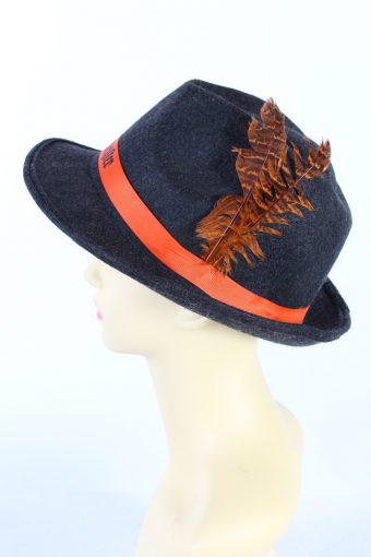 Vintage Jaegermeister 1980s Fashion Brimmed Hat Dark Grey HAT922-121425