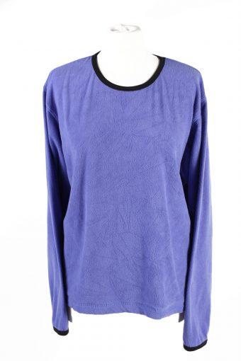 Fleece Sweatshirt Round Neck 90s Purple L