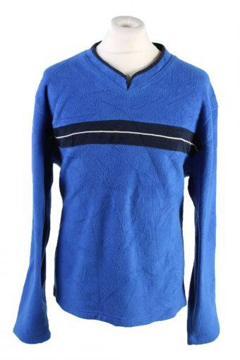 Fleece Sweatshirt V Neck 90s Blue L