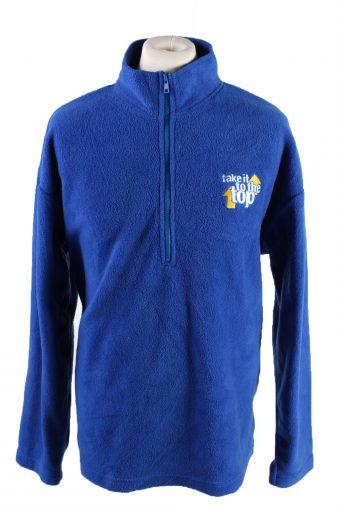 Fleece Sweatshirt High Neck 90s Blue XL