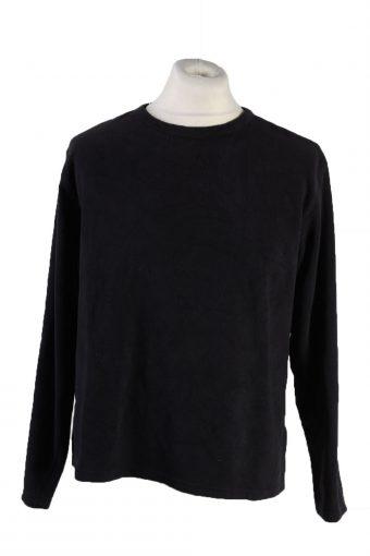 Fleece Sweatshirt Crew Neck 90s Black XL