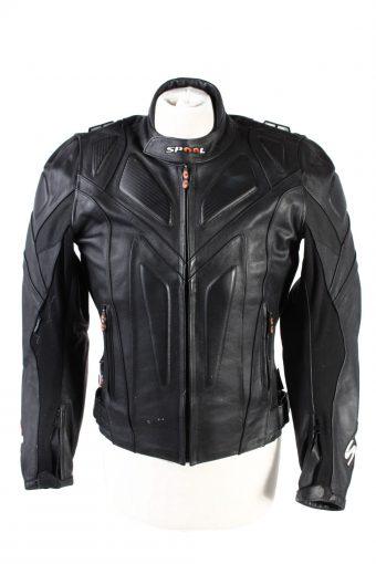 Vintage Spool Genuine Leather Motorcycle Jacket 48 Black
