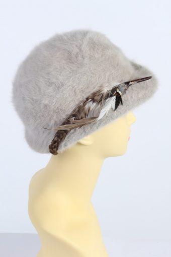 Vintage Angora Soft 1990s Fashion Winter Trilby Hat Beige HAT1002-122609