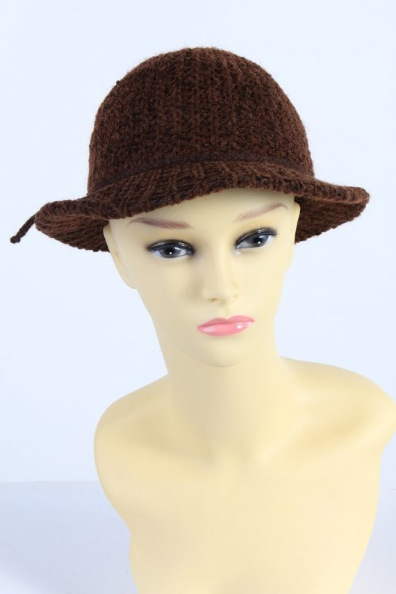 Vintage 1990s Fashion Womens Winter Knit Trilby Hat Brown HAT1027-0