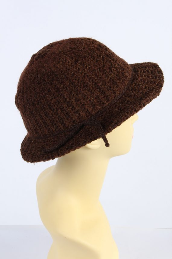 Vintage 1990s Fashion Womens Winter Knit Trilby Hat Brown HAT1027-122783