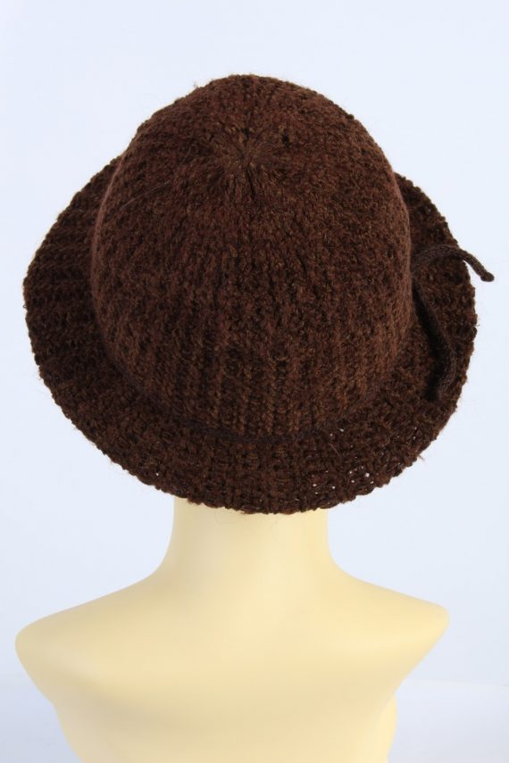 Vintage 1990s Fashion Womens Winter Knit Trilby Hat Brown HAT1027-122784