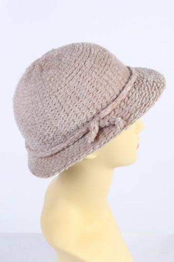 Vintage C&A 1980s Fashion Womens Winter Knit Trilby Hat Cream HAT1031-122799