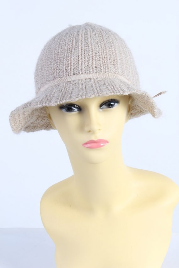 Vintage 1990s Fashion Womens Knit Trilby Hat Cream HAT1084-0