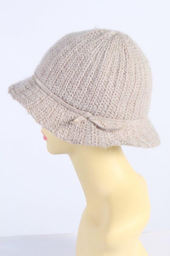 Vintage 1990s Fashion Womens Knit Trilby Hat Cream HAT1084-123041