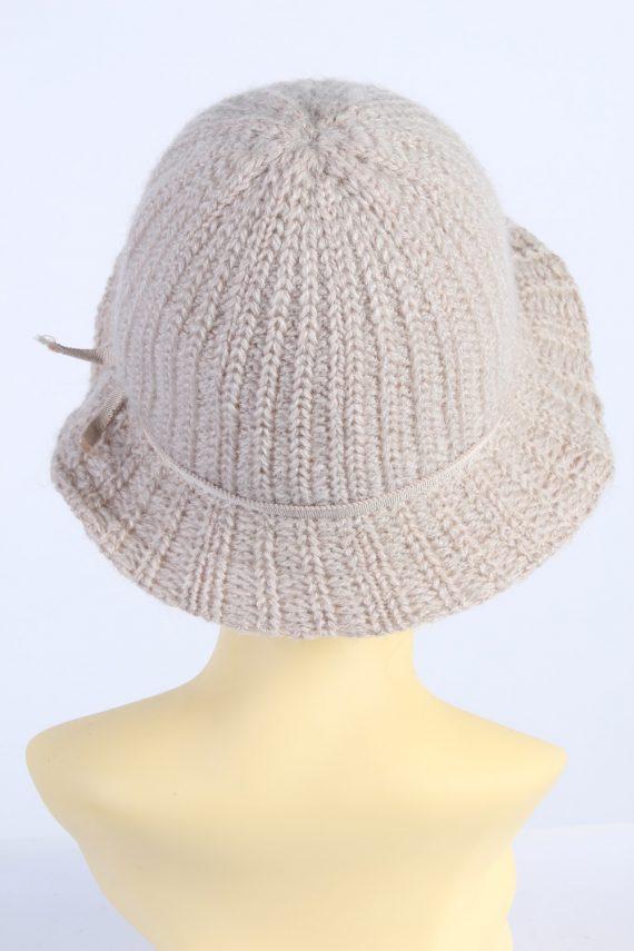 Vintage 1990s Fashion Womens Knit Trilby Hat Cream HAT1084-123042