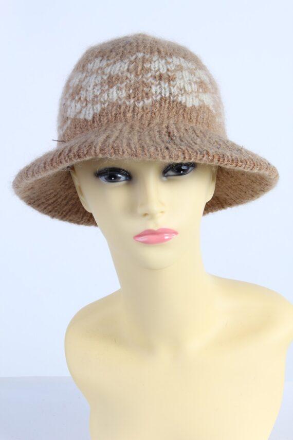 Vintage 1990s Fashion Womens Knit Trilby Hat Coffee HAT1086-0