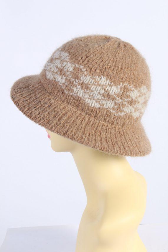 Vintage 1990s Fashion Womens Knit Trilby Hat Coffee HAT1086-123049