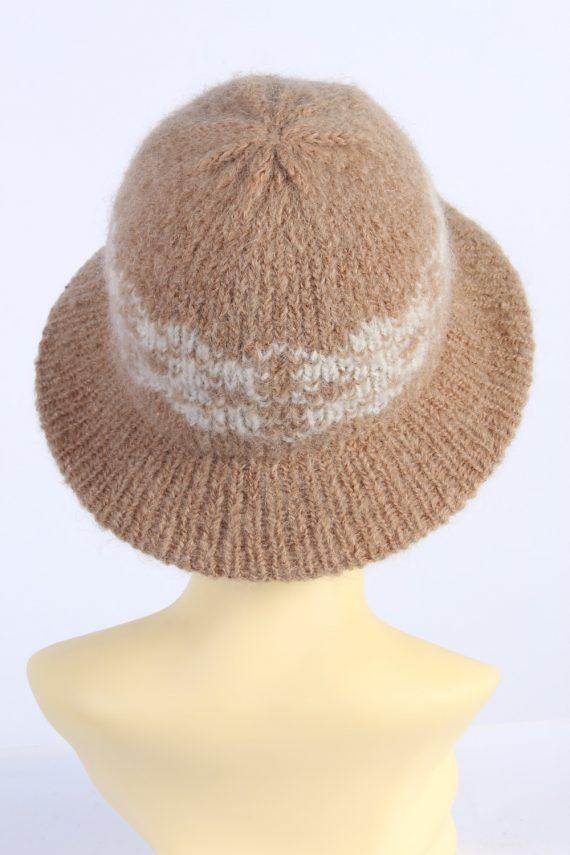 Vintage 1990s Fashion Womens Knit Trilby Hat Coffee HAT1086-123050