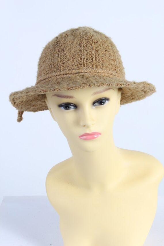Vintage 1980s Fashion Womens Knit Trilby Hat Camel HAT1094-0