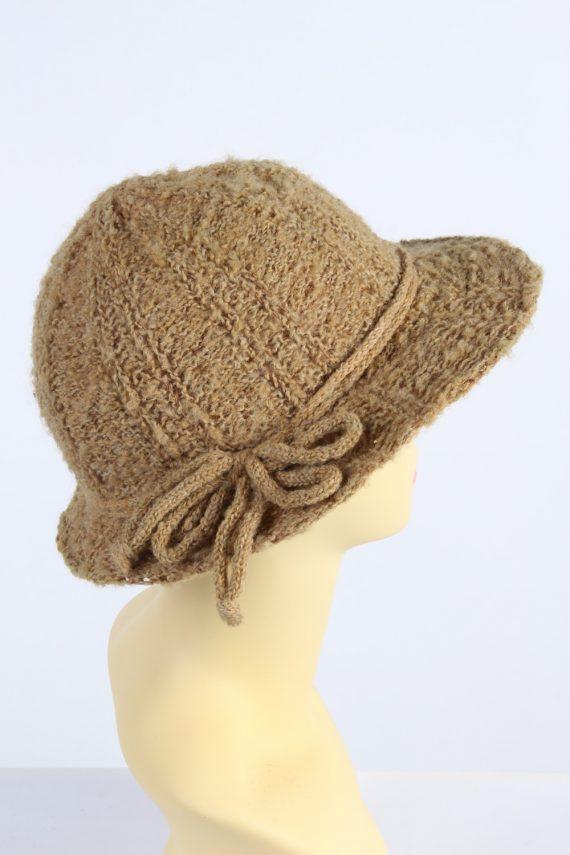 Vintage 1980s Fashion Womens Knit Trilby Hat Camel HAT1094-123081