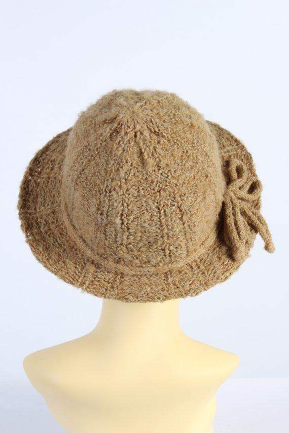 Vintage 1980s Fashion Womens Knit Trilby Hat Camel HAT1094-123082