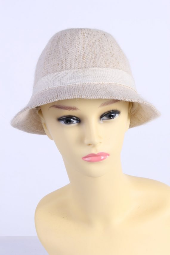 Vintage H&M Divided 1980s Fashion Womens Knit Lined Trilby Hat Beige HAT1101-0