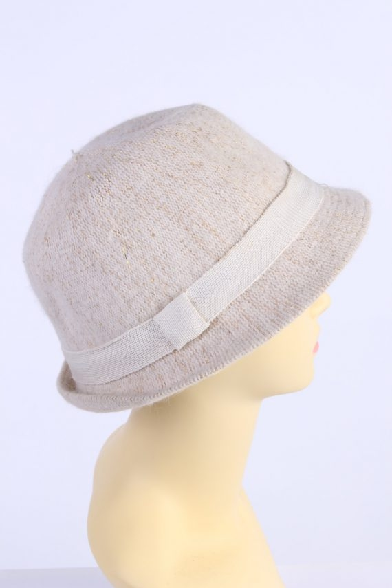 Vintage H&M Divided 1980s Fashion Womens Knit Lined Trilby Hat Beige HAT1101-123109