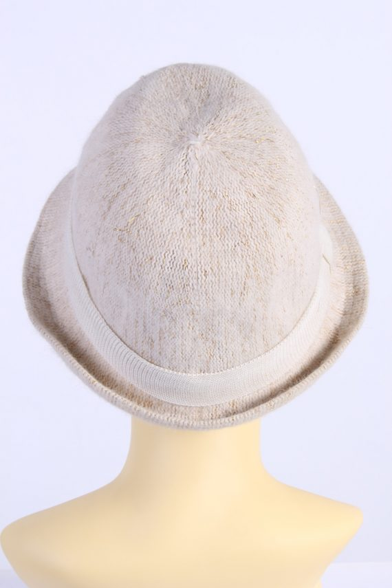 Vintage H&M Divided 1980s Fashion Womens Knit Lined Trilby Hat Beige HAT1101-123110