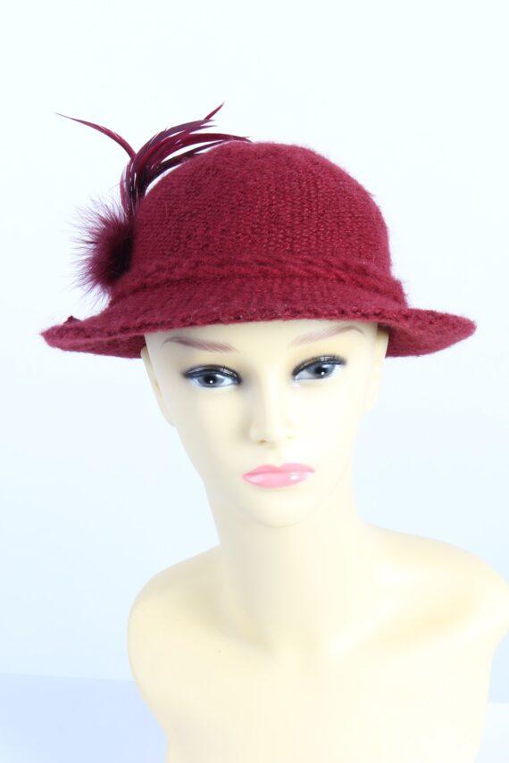 Vintage 1990s Fashion Womens Brim Knit Hat Red HAT1111-0