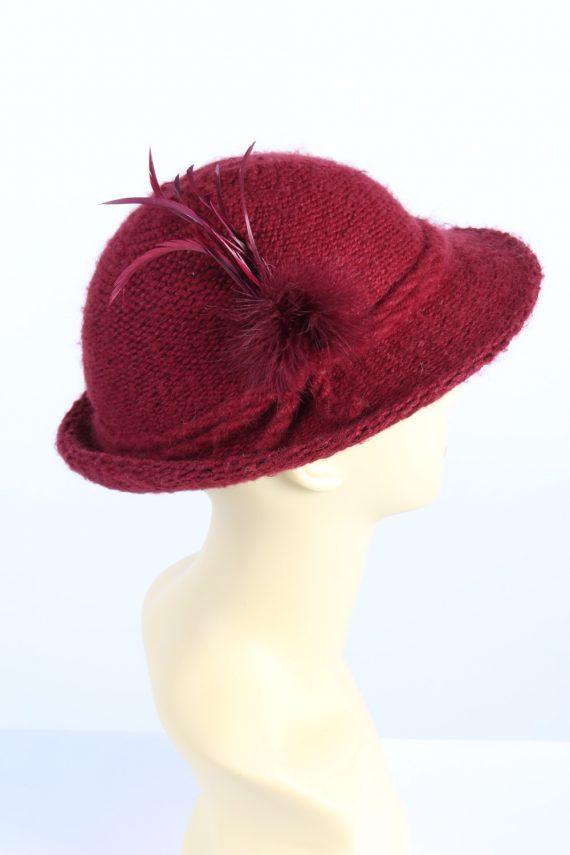 Vintage 1990s Fashion Womens Brim Knit Hat Red HAT1111-123474