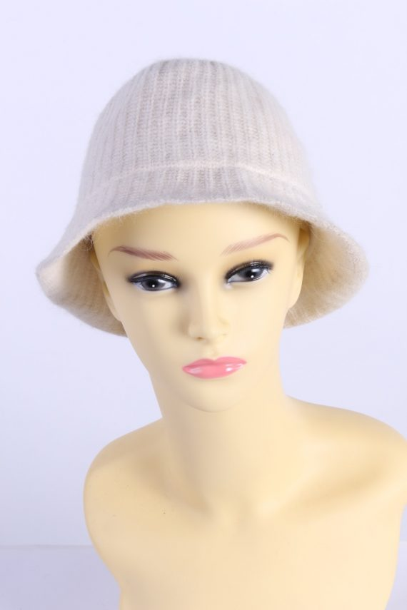 Vintage H&M Divided 1990s Fashion Womens Brim Lined Knit Hat White HAT1117-0