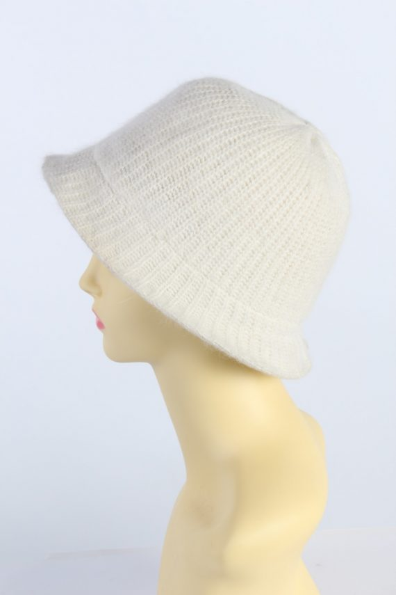 Vintage H&M Divided 1990s Fashion Womens Brim Lined Knit Hat White HAT1117-123498