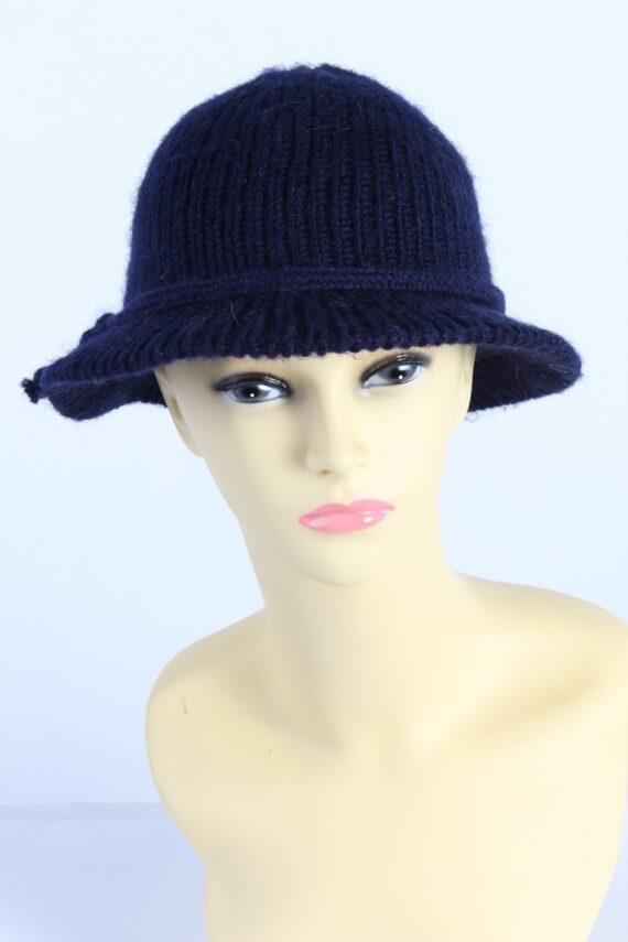 Vintage 1990s Fashion Womens Brim Knit Hat Navy HAT1119-0