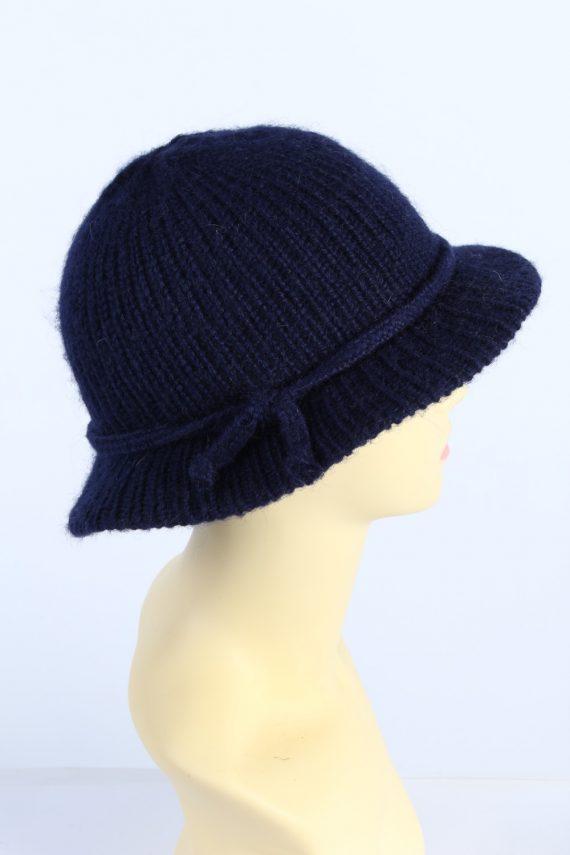 Vintage 1990s Fashion Womens Brim Knit Hat Navy HAT1119-123506