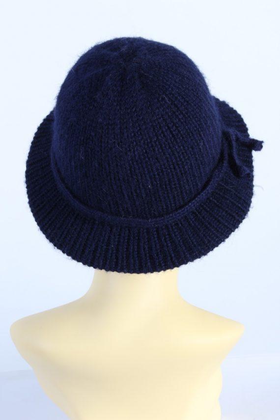 Vintage 1990s Fashion Womens Brim Knit Hat Navy HAT1119-123507