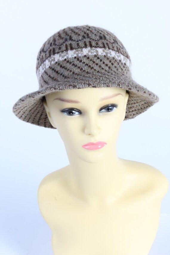 Vintage 1970s Fashion Womens Brim Lined Knit Hat Brown HAT1133-0