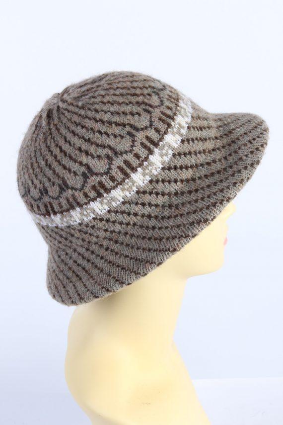 Vintage 1970s Fashion Womens Brim Lined Knit Hat Brown HAT1133-123562