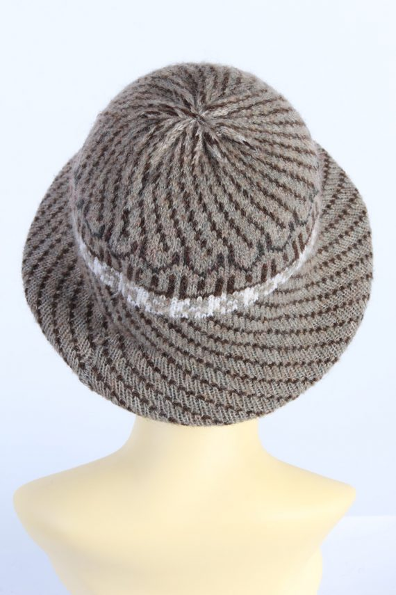 Vintage 1970s Fashion Womens Brim Lined Knit Hat Brown HAT1133-123563