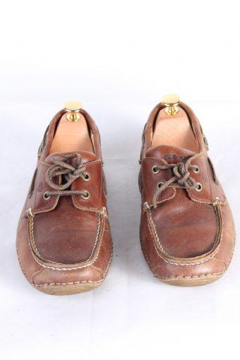 Vintage Stuf 2 Eye Boat Deck Lace-Up Lug Shoes UK 7 Brown S808-123987