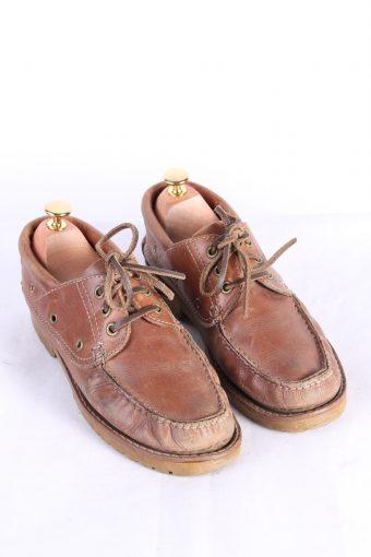 Vintage 3 Eye Boat Deck Lace-Up Lug Shoes 40 Brown