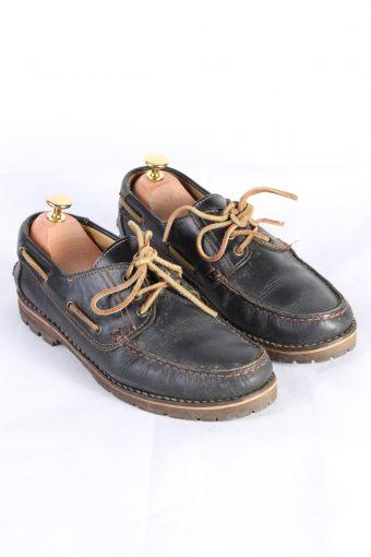 Vintage Camel 3 Eye Boat Deck Lace-Up Lug Shoes UK 7.5 Navy