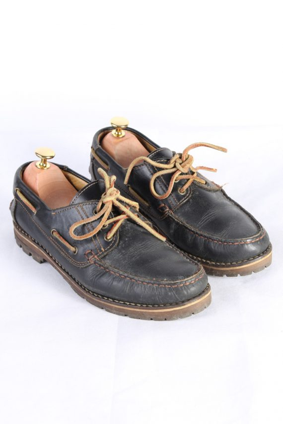 Vintage Camel 3 Eye Boat Deck Lace-Up Lug Shoes UK 7.5 Navy S818-0