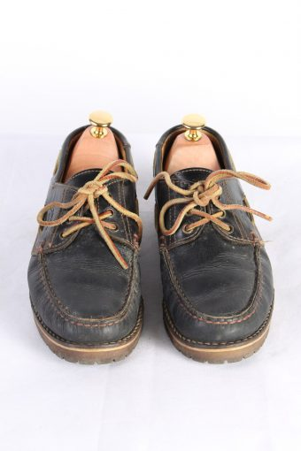 Vintage Camel 3 Eye Boat Deck Lace-Up Lug Shoes UK 7.5 Navy S818-124027