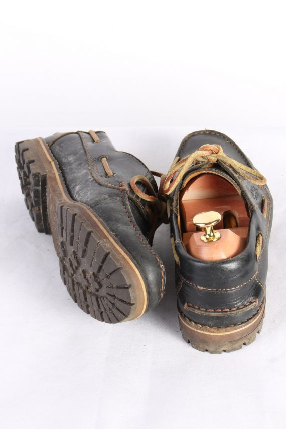 Vintage Camel 3 Eye Boat Deck Lace-Up Lug Shoes UK 7.5 Navy S818-124028