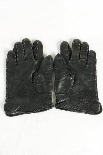 Vintage Womens Leather Gloves Lined Black G86-125388